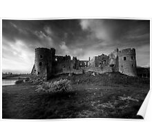 Carew Castle Pembrokeshire Monochrome Poster