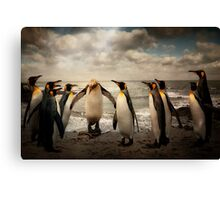 Penguins at the beach Canvas Print