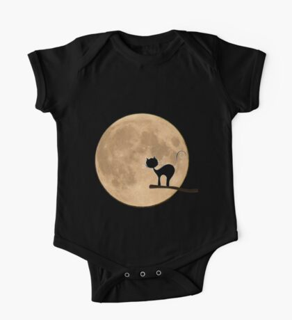 Cat silhouette with moon One Piece - Short Sleeve
