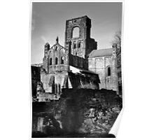 Kirkstall Abbey in Mono Poster