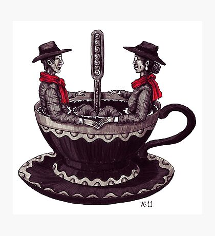 Cup of Coffee surreal black and white pen ink drawing Photographic Print