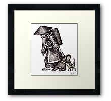 Old Chinese Man with his Grandson black and white pen ink drawing  Framed Print