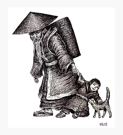 Old Chinese Man with his Grandson black and white pen ink drawing  Photographic Print