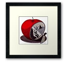 Unity surreal black and white and red pen ink drawing Framed Print