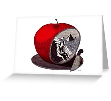 Unity surreal black and white and red pen ink drawing Greeting Card