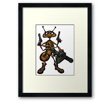 Funny Fire Ant with Guns cartoon drawing Framed Print