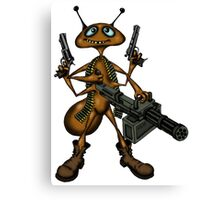 Funny Fire Ant with Guns cartoon drawing Canvas Print