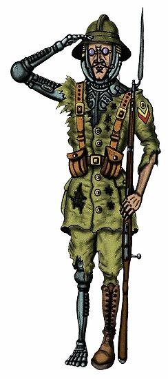 Vintage Cyborg Soldier cartoon drawing by Vitaliy Gonikman
