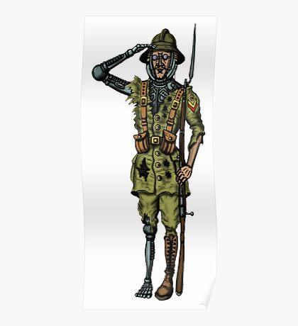 Vintage Cyborg Soldier cartoon drawing Poster