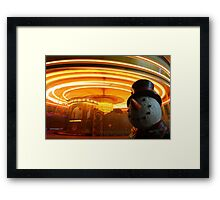 Lincoln Christmas Market Fun Fair Snowman Framed Print