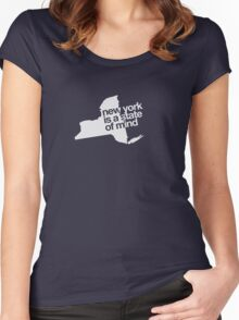 New York is a state of mind - Small white Women's Fitted Scoop T-Shirt