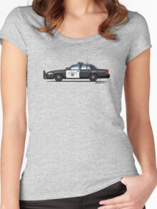 California Highway Patrol Ford Crown Victoria Police Interceptor Women's Fitted Scoop T-Shirt