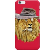 Lion with hat, cigarette, and monocle iPhone Case/Skin