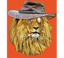 Lion with hat, cigarette, and monocle Photographic Print