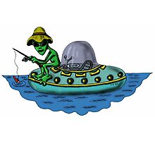 Fishing Alien funny cartoon drawing Photographic Print