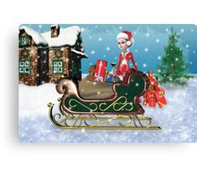Santa's Sleigh with Elf Canvas Print