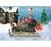 Santa's Sleigh with Elf Photographic Print