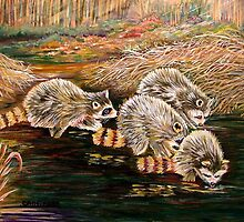 Raccoons at Sunrise by AnfinsenArt