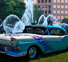 """1957 Ford - """"The Plaza Flaming Ford"""" by TeeMack"""