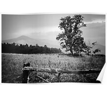 Cades Cove B&W Smoky Mountains Valley 1  Poster