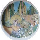 Across the River (Charger Plate) work in progress #3 by Sally Sargent
