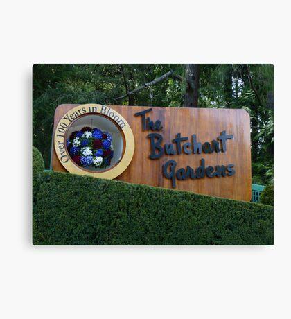 Butchart Gardens sign Canvas Print
