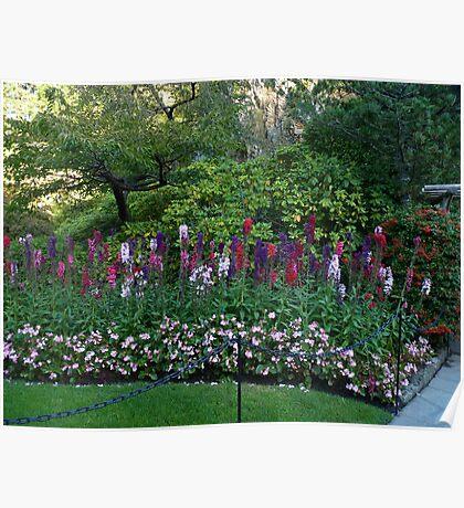 Colorful border in the Sunken Garden - Butchart Poster