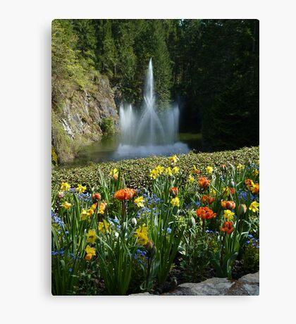 Sunken Gardens Fountain - Butchart Canvas Print