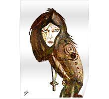 Pencil Sketch Future Woman Poster