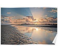 Sun Up at Low Tide at Bushland Beach Poster