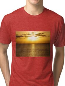 Shore bird taking in the setting sun on the Gulf of Mexico Tri-blend T-Shirt
