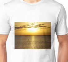Shore bird taking in the setting sun on the Gulf of Mexico Unisex T-Shirt