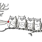 Owls get bothered by Reindeer by LordOtter