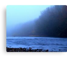 Foggy Autumn afternoon along the River Tees, England Canvas Print
