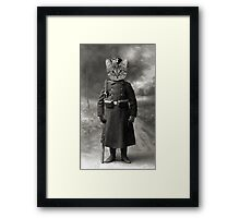 vintage soldier-cat art print Framed Print