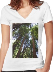 Up the Redwoods Women's Fitted V-Neck T-Shirt