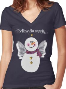 Snowman Angel Women's Fitted V-Neck T-Shirt