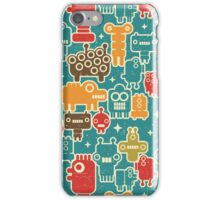 Robots on blue iPhone Case/Skin