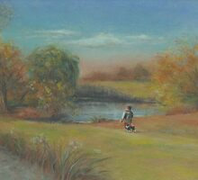 Landscape with boy and dog by Pam Humbargar