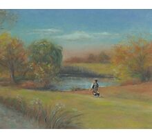 Landscape with boy and dog Photographic Print