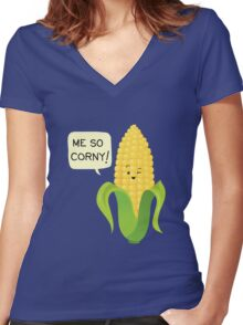 So Corny! Women's Fitted V-Neck T-Shirt