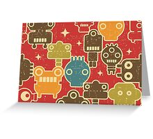 Robots on red. Greeting Card