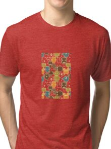 Robots on red. Tri-blend T-Shirt