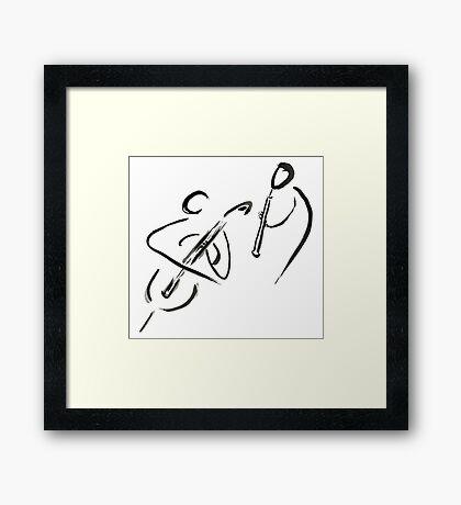 cello & oboe (haiga IX)  Framed Print