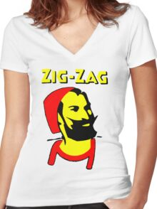 ZIG-ZAG PAPER Women's Fitted V-Neck T-Shirt