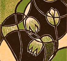 "Green Flower, color reduction lino print. 8.5""x11"" by Amanda Heigel"