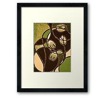 "Green Flower, color reduction lino print. 8.5""x11"" Framed Print"