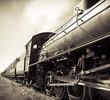 Steam Train B&W by Russell Charters