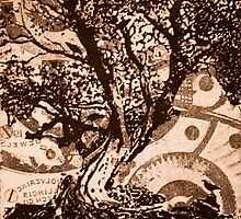 Bird Tree- Intaglio Print by Amanda Heigel