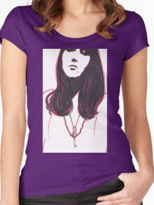 high contrast self portrait Women's Fitted Scoop T-Shirt